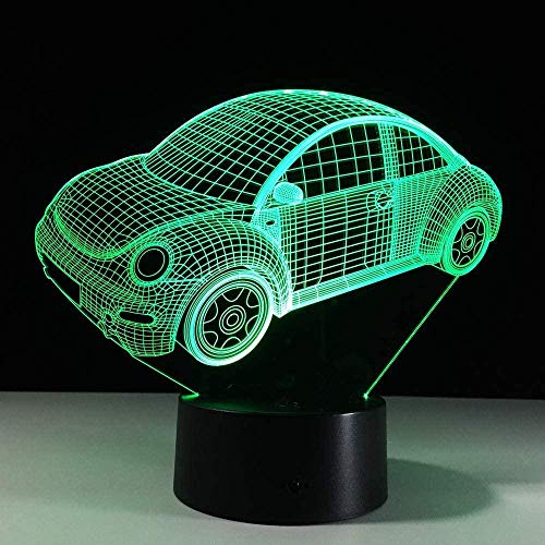 Colorful Beetle Car 3D Led Night Light Mood Lamp para Holiday Lamp 3D Lamp 7 colores que cambian como regalo para niños Boy Friends-Touch screen