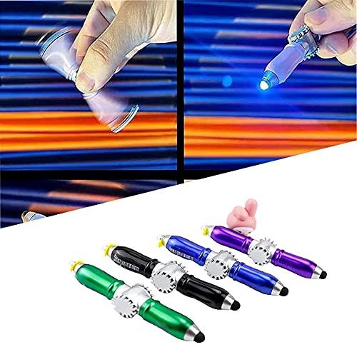 MRDUEWS Pluma de ballido de gyro de gyro multifunción, DIRIGIÓ Pantalla de punta táctil giratoria Pluma de punta de dedo, bolígrafo de descompresión con luz, pantalla táctil de 3 en 1 lápiz de bolígra