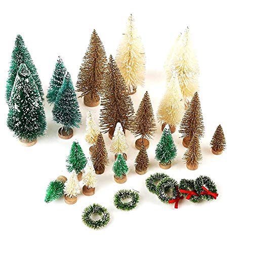 Senmubery 30 Pcs Miniature Frosted Christmas Trees Bottle Brush Trees Plastic Tabletop Trees Ornaments for Christmas Room