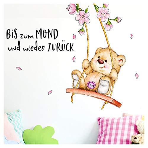 Little Deco Wandtattoo Bis zum Mond & Bär auf Schaukel I (BxH) 96 x 80 cm I Kinderzimmer Babyzimmer Aufkleber Sticker Wandaufkleber Wandsticker Stickers DL151