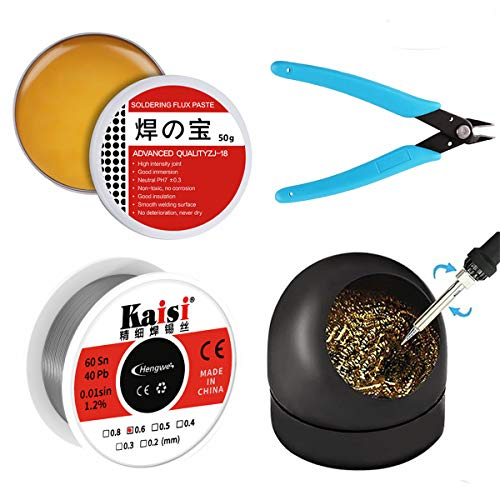 Solder Iron Assist Accessories DIY Kit (Soldering Iron Tip Cleaner + 1PCS Solder Tip Cleaning Wire + 60-40 Tin Lead Rosin Core Solder Wire + Micro Shear Wire Cutter Pliers