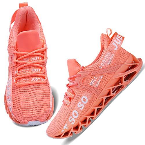 Wonesion Damen Laufschuhe Sportschuhe Straßenlaufschuhe Sneaker Damen Tennisschuhe Fitness Schuhe 39 EU 4 Orange