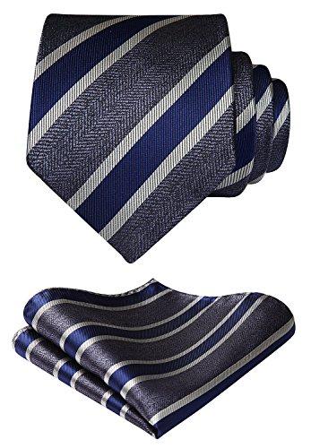 HISDERN Herren Krawatte Gestreifte Hochzeit Krawatte & Einstecktuch Set
