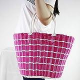Moxin Cesta de Frutas Verduras Bolsos de ratán de plástico | Gran Capacidad, Moda, Transpirable Canasta de Almacenamiento para IR de Compras, Picnic, Playa,Pink