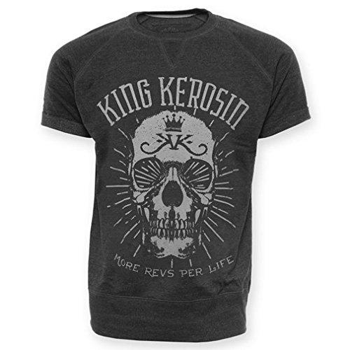 King Kerosin Rockabilly Herren T-Shirt/Sweatshirt Kurzarm - More Revs Per Life Totenkopf Dunkelgrau bis 3XL (S)