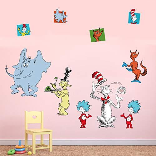 Runtoo Wandtattoo Dr Seuss Wandsticker Kinderzimmer Wandaufkleber Babyzimmer Lesezimmer
