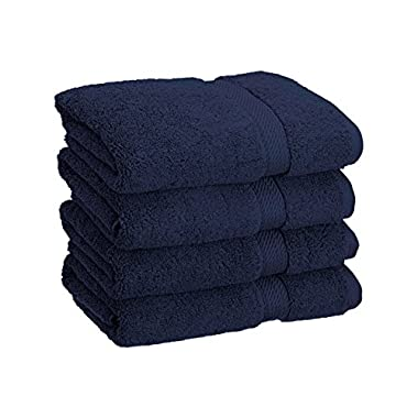 Superior 900 GSM Luxury Bathroom Hand Towels, Made of 100% Premium Long-Staple Combed Cotton, Set of 4 Hotel & Spa Quality Hand Towels - Navy Blue, 20  x 30  each