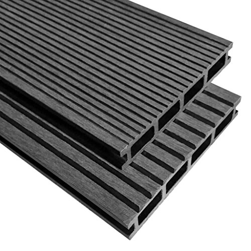 Lechnical WPC Terrassendielen mit Zubehör Massive Holz-Terrassendielen Balkon Boden-Belag rutschfest & witterungsbeständig Holz-Brett Dielen 10 m² 2,2 m Grau
