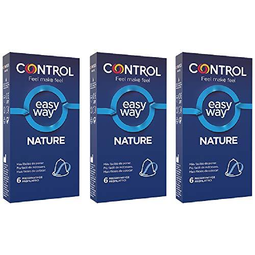 CONTROL Kit de 3 cajas de preservativos Nature Easy Way, 18 preservativos. Cada caja contiene 6 preservativos con una delicada lengüeta que permite desenrollarlo con un solo gesto