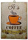 KUSTOM ART Cuadro de estilo vintage «It's Coffee Time» de colección, impresión sobre madera