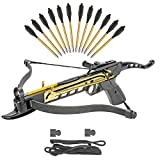 KingsArchery Crossbow Self-Cocking 80 LBS with Adjustable Sights, Spare Crossbow String and Caps, and a Total of 15 Aluminim Arrow Bolt Set Warranty