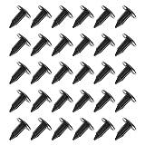 30 clips de plástico para árbol de abeto, negro, agujero de 6 mm, cabeza de 18 mm, remaches de defensa de coche, clips de sujeción para coches, barcos, aviones, caravanas