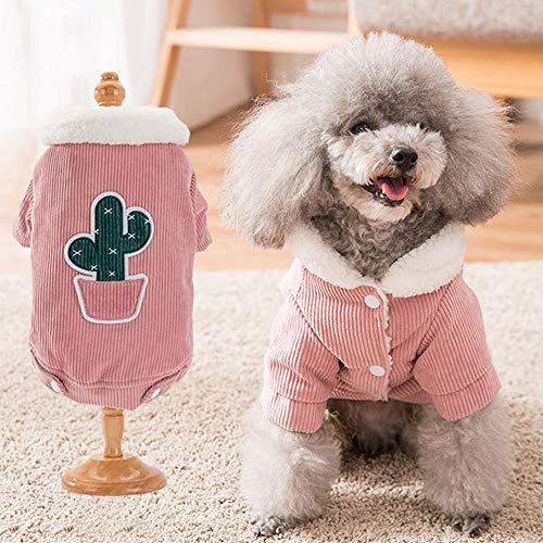 QKEMM Invierno para Mascotas Cachorros Forro Polar de Algodón con Botones a Presión de Dos Perneras Abrigo Ropa de Perro Pequeño Chaqueta Chaleco Caliente Rosa XXL