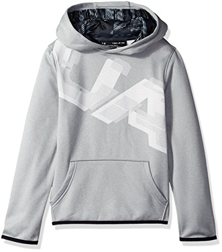 Under Armour Boys Fleece Highlight Printed Hoodie, Steel (035)/White, Youth Medium