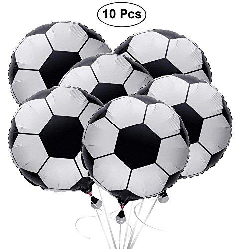 SAIYU Globos de fútbol Globos de fútbol Globo de Papel de Aluminio Mylar Globos para la Fiesta de cumpleaños de la Fiesta Mundial de 2018 o el Deporte Fiesta de cumpleaños (10 PCS, 18 Pulgadas)