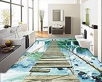 3D壁紙風景滝ロープロープ木製橋床セルフ-接着剤防水バスルーム3DフローリングBeibehang-150Cm×105Cm