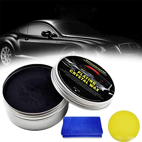 New Car Coating Wax, Auto Coating Wax Anti Scratch, 210G Autopoliermittel Liquid Nano Ceramic Coat Paste zum Entfernen von tiefen Kratzern und Flecken, Free Towel Sponge (Schwarz)