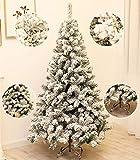 XFSHKJS Blanc Floqué Arbre De Noël 1.5m 1.8m 2.1m 3m Sapin De Noël Artificiel Réalistes À Articulation Facile Assemblée Xmas Tree Neige pour La Scène Sculpture sur Glace Décoration