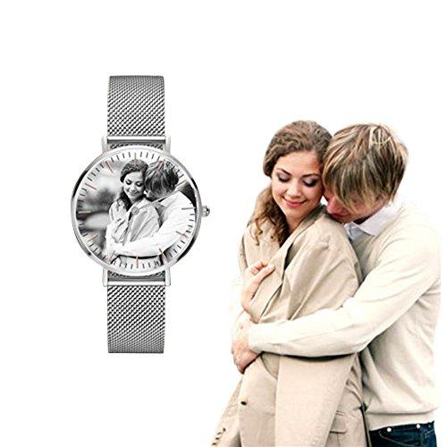 Bokning Unisex Personalisierte mit Foto (Farbfoto, Schwarz Weiß Foto) Edelstahl Uhr und Gravur Quadrat Analog Quarzwerk 36MM/40MM