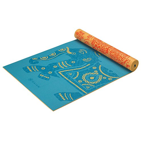 Gaiam Yoga Mat Premium Print Reversible Extra Thick Non Slip Exercise & Fitness Mat for All Types of Yoga, Pilates & Floor Workouts, Elephant, 6mm