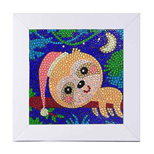 ParNarZar Kleine Und Einfache 5D Diamond Painting Set Kinder Mosaikherstellung Mit WeißEm Rahmen FüR Kinder - 15X15Cm (Faultier)