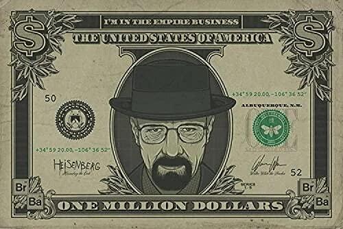 Eryan Wandkunst Bilder Breaking Bad - TV Show Heisenberg auf 1 Million Dollar Bill Art Film Drucken Seide Poster Home Wanddekor 60x90cm