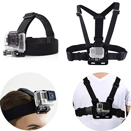 SUNMENCO Sangle de tête réglable + harnais de poitrine pour caméra d'action GoPro AKASO/Apeman/Pictek/DBPower/Wimius/Lightdow/Cymas
