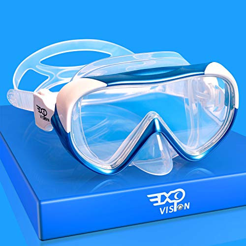 EXP VISION Kids Swim Mask, Panoramic Swimming Goggles with Nose Cover Anti-Fog Snorkel Gear Scuba Diving Snorkeling, Leakproof Skirt Diving Masks for Youth Junior Child (Blue)