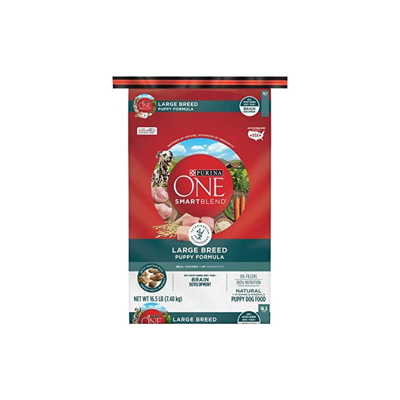 dog supplies online purina one natural large breed dry puppy food, smartblend large breed puppy formula - 16.5 lb. bag