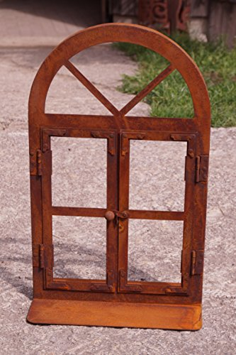 Edelrost Fenster Halbbogen klein Höhe 45 cm Nostalgiefenster zum Öffnen