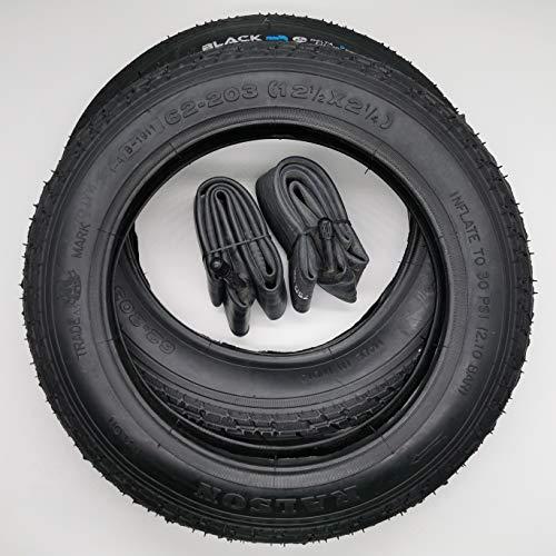 Black1 2x12 Zoll Reifen + AV Schläuche (gerade) | 12 1/2 x 2 1/4 | ETRTO 62-203 Decke Mantel Fahrrad Kinder Roller Anhänger Auto-Schraderventil