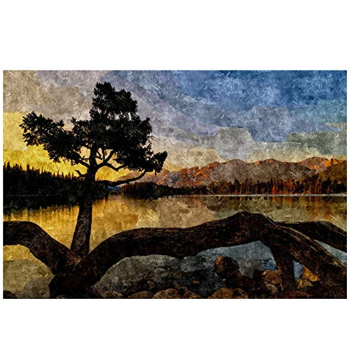 Canvas schilderij Abstract Sky Tree Sunset Mountain Posters en prints Schilderen op canvas Nordic Wall Pop Art Picture for Living Room 11.8