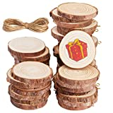 Unfinished Wood Slices,Panamela 40 Pcs 2.0-2.4 Inch Wood Ornaments for Crafts, with Eye Screw for Craft Supplies & Materials, Personalized Rustic DIY Ornaments,Wedding Decorations