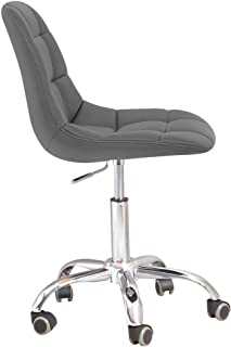 Modern Slate Leatherette and Chrome Rochelle Office Chair