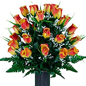 sympathy silks artificial cemetery flowers – realistic – outdoor grave decorations – sunset orange roses with lily grass