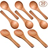 30 Pieces Small Wooden Spoons Mini Nature Wooden Spoons Mini Tasting Spoons Condiments Salt Spoons for Kitchen Cooking Seasoning Oil Coffee Tea Sugar (Light Brown)