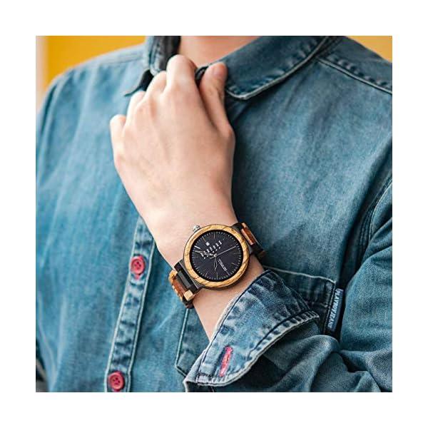 Men Colorful Wood Watches Multifunction Week & Date Quartz Mix Wooden Wrist Watch Lightweight