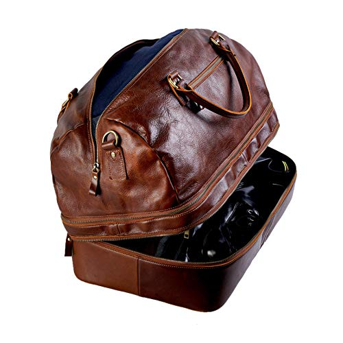 Genuine Leather Duffle Bag, Large Expandable(Double Capacity)Carry On Luggage Travel Bag With Hard Shoe Compartment(Shoes Not Be Squeezed)