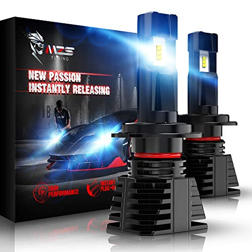 MZS H7 LED Headlight Bulbs,Wireless Instant Plug-in Car High/Low Beam Conversion Kit Extreme Small Size Fanless Design 12000LM 6500K White