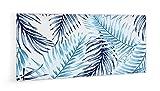 Impression Murale® - Crédence de cuisine en Verre de synthèse'Motif fougères bleues' avec fixation adhésive - L. 90 x H. 50 cm - Epaisseur 4 mm