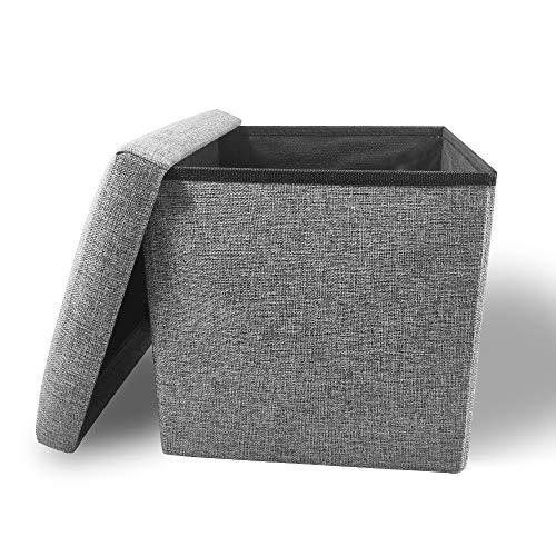 Cosaving Sitzhocker mit Stauraum Fußhocker Faltbar Aufbewahrungshocker Hocker mit Stauraum Polsterhocker Sitztruhe Aufbewahrungsbox Sitzwürfel mit Deckel, 30x30x30cm Grau