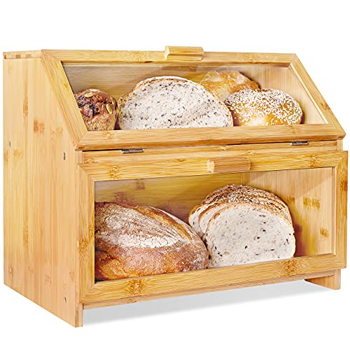 Laura's Green Kitchen Extra Large Double Compartment Bread Box Bamboo BreadBox w/Clear Windows- Rustic Farmhouse Style Bread Holder for Kitchen Countertop - Double Layer Bread Storage (Self-Assembly)