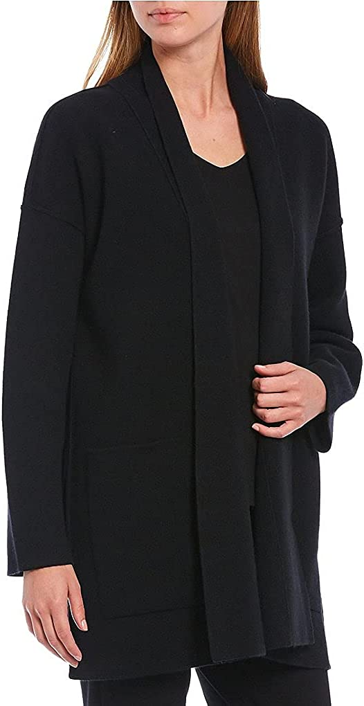 Eileen Fisher Black 100% Italian Cashmere Boxy Long Cardigan Size M/M MSRP $498