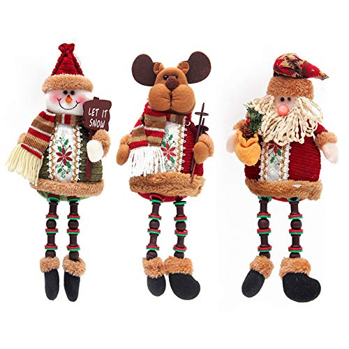 Christmas Plush Toy 3PCS/Set Super Cute Long Leg Sitting Santa Clause Snowman Reindeer Doll Christmas Ornaments Christmas Tree Topper Xmas Ornaments for Christmas Tree Pendant Holiday Party Home Decor
