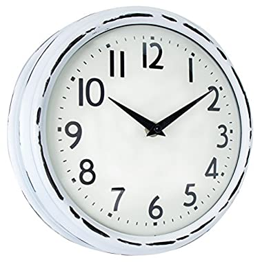 45Min [Updated Version] 9.5-Inch Spherical Glass Round Classic Clock, Silent Non-Ticking Retro Quartz Decorative Wall Clock White/Black(White)
