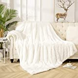 Vasofe Warm Shaggy Sherpa Blankets Fluffy Soft Fuzzy Faux Fur Throw Blanket for Xmas Couch Sofa Photo Home Decor Cream White Bed Throw Size