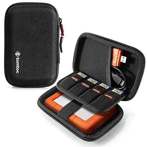 tomtoc Carrying Case for Essential External Hard Drive, EVA Shockproof Travel Portable Bag Compatible with 2.5 inch Western Digital | Toshiba | Seagate | LaCie | HGST Hard Drive, with 8 SD Card Slots