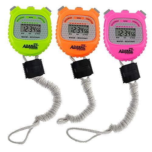 Marathon ADANAC 3000 Digital Stopwatch Timer, Water Resistant, Battery Included (Neon-3pk)