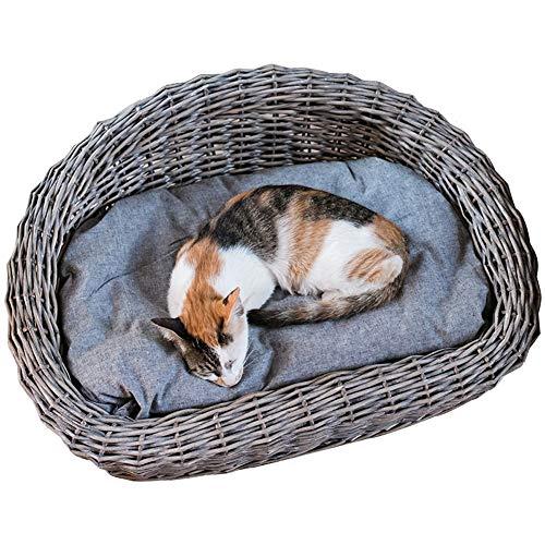 Hundekörbchen Grau Tierbett Hundebett Hundeliege Rattan Hundematte Mit Baumwolle Matratze Hundebett Haustierbett Hundekissen Leder (Size : 45x61cm)