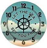 prz0vprz0v - Reloj de madera clásico sin tachuelas (30,5 cm), diseño vintage Let the Sea Set You Free Volante y Beach Clock